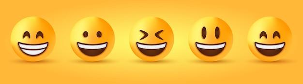 Strahlendes grinsendes gesicht mit lächelnden augen - smiley-emoji mit offenem mund - fröhliches lach-emoticon