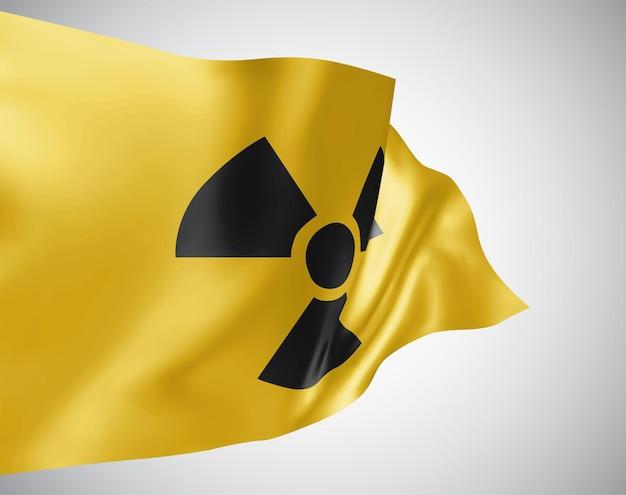 Strahlungszeichen auf gelbem hintergrund im 3d-vektor-flaggen-stil mesh