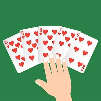Straight poker gewinnen, spielkarte konzept
