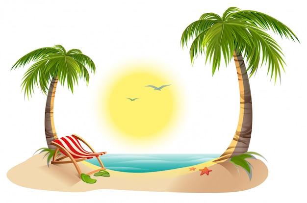 Strand chaiselongue unter palme. sommerferien in den tropen
