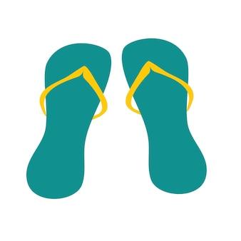 Strand flip-flops. pantoffel zubehör. sommerkleidung, strand, urlaub am meer. flache vektorillustration.