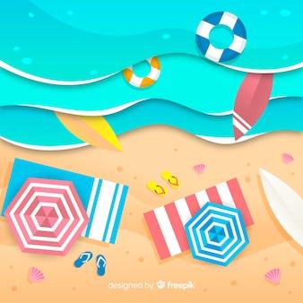Strand im papierstil