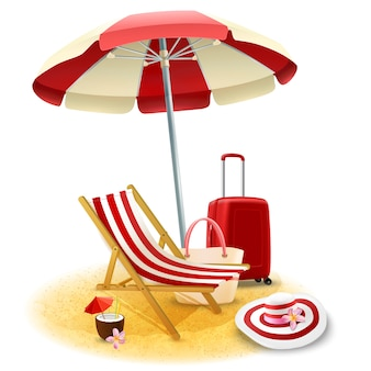 Strand-klappstuhl und regenschirm-illustration