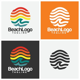Strand-logo-design-vektor-vorlage