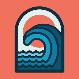 Strand meer natur wilde linie abzeichen patch pin grafik illustration