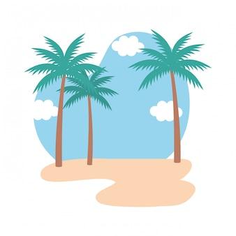 Strand-meerblick-szene-symbol