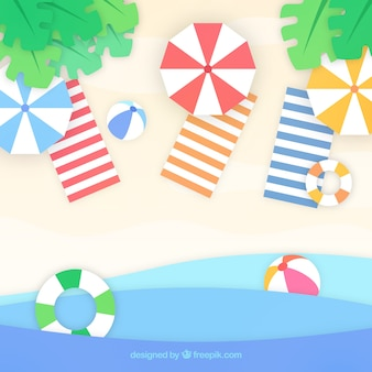 Strand mit draufsicht in der papierart