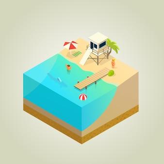 Strand mit rettungsschwimmer, hai und maulwurf