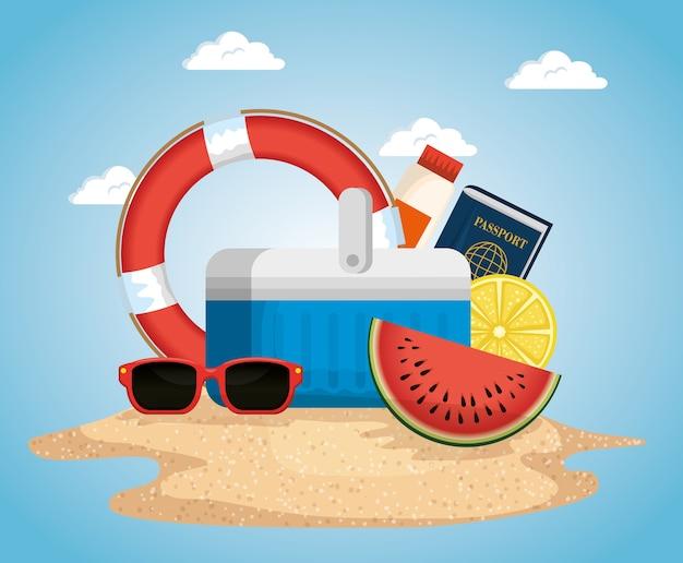 Strand mit sommerferienikonenvektor-illustrationsdesign