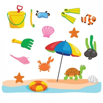 Strand mit verschiedenen sommer-elemente