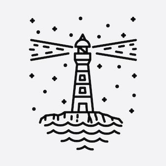 Strand natur leuchtturm abenteuer wilde linie abzeichen patch pin grafik illustration kunst t-shirt design