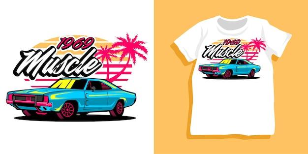 Strand-sommer-auto-t-shirt-design