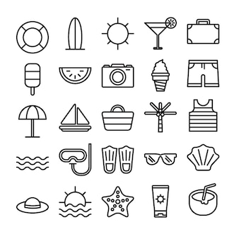 Strand-umriss-icon-set