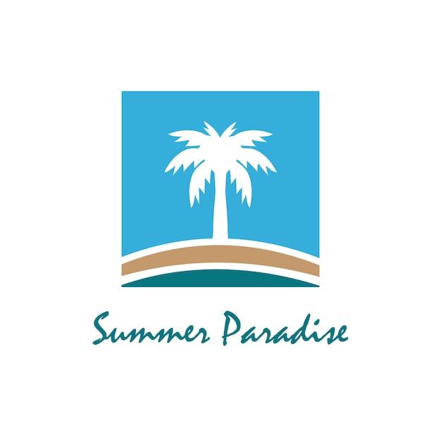 Strand- und sommerthema logo mit designschablone der palme drei