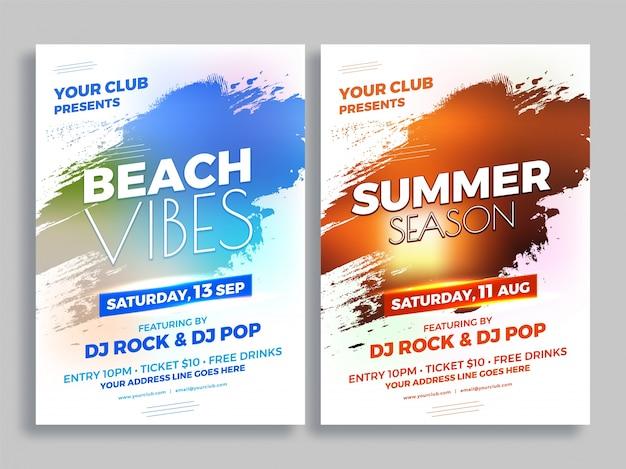 Strand-vibes und sommer-jahreszeit-party-flyer-entwurf.