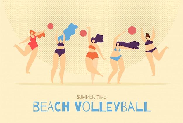 Strand-volleyball, der frauenhintergrund spielt