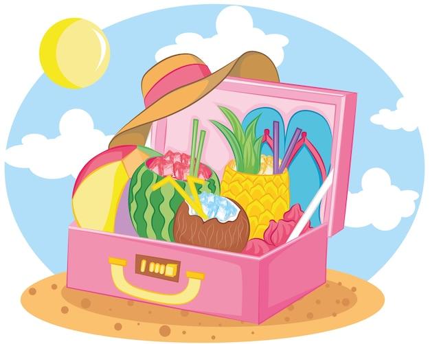Strandaccessoires im rosa koffer am strand