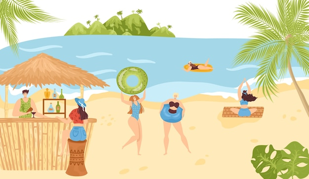 Strandaktivitäten im sommer in den seeferien