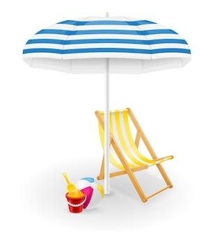 Strandattribute sonnenschirm und liegestuhl