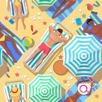 Strandferien nahtloses muster. entspannung und sommer, tourismus und erholung, entspannung im freien, komfortable freizeit