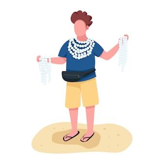 Strandhändler mit gesichtslosem charakter des flachen farbvektors der andenken. mann, der muschelketten und armbandzubehör verkauft, isolierte karikaturillustration
