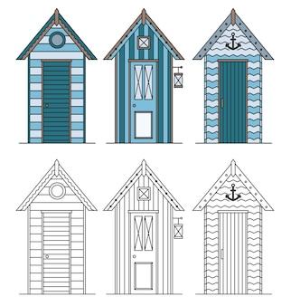 Strandhäuser. hütten- und bungalowsammlung. marinegebäude am meeresstrand.