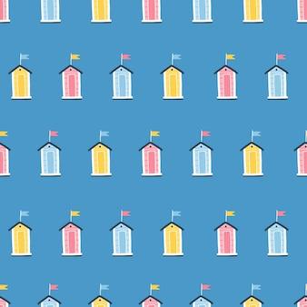 Strandhäuser nahtloses muster. niedliche sommerkarikaturillustrationen im einfachen handgezeichneten kindischen skandinavischen stil. winzige tropische gebäude in einer bunten pastellpalette. ideal zum drucken.