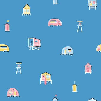 Strandhäuser und anhänger nahtloses muster. niedliche sommerkarikaturillustrationen im einfachen handgezeichneten kindischen skandinavischen stil. winzige tropische gebäude in einer bunten pastellpalette. ideal zum drucken