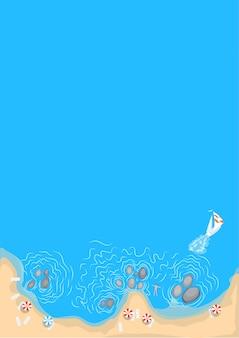 Strandhintergrund, draufsicht. sonnenschirme, boot, sonnenliegen, felsen.