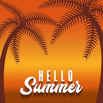 Strandhintergrund mit hallo sommerphrase