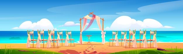 Strandhochzeitsbogen und dekoration auf küstenkarikaturillustration.