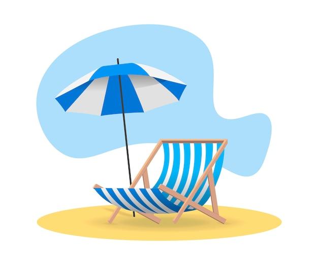 Strandkorb und sonnenschirm von der sonne auf sand in blauer farbe