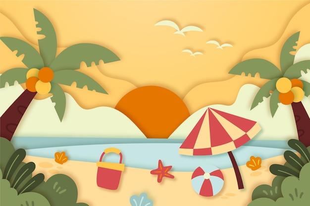 Strandlandschaft im papierstil