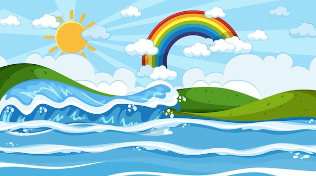 Strandlandschaft tagsüber szene mit regenbogen am himmel