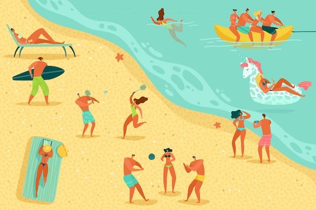 Strandleute entspannen sich. personen schwimmen sonnenbaden frauen männer kinder wasserspiele meer ozean familie sommerferien entspannen, flaches konzept