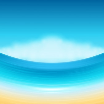 Strandmeer mit wolken sommerferien-vektorhintergrund.