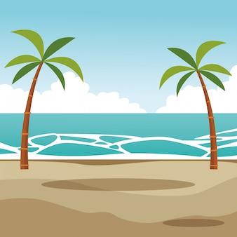 Strandpalmen-landschaftskarikatur