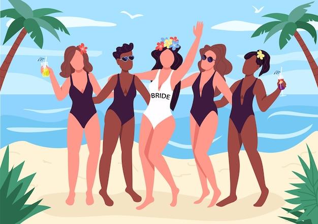 Strandparty flache farbe. fröhliche mädchen in badeanzügen. starke weibliche freundschaft. feier vor der hochzeit. gesichtslose zeichentrickfiguren des junggesellenabschieds 2d mit seestück auf hintergrund