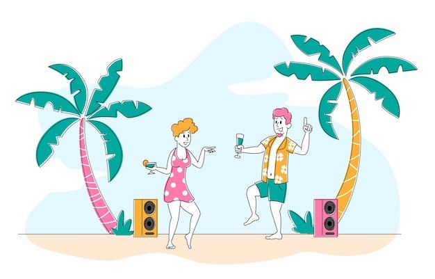 Strandparty im exotischen tropischen resort