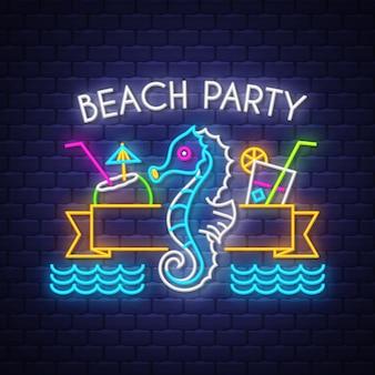 Strandparty. sommerferien neon schriftzug