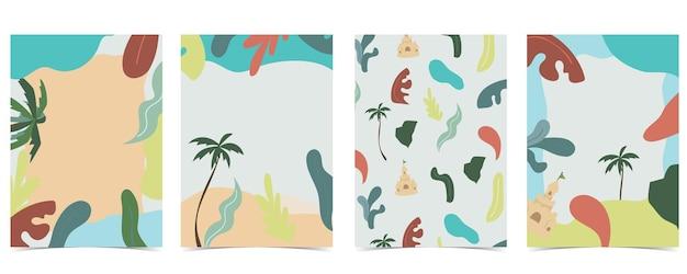Strandpostkarte mit sonne, meer und himmel bei tag