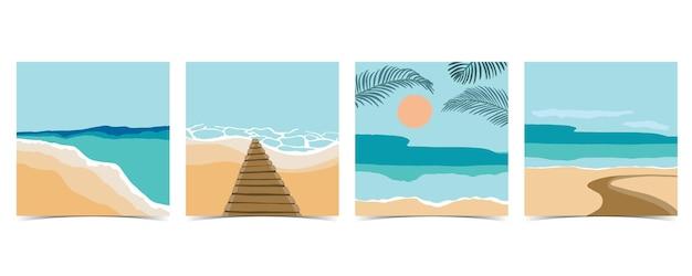 Strandpostkarte mit sonne und himmel bei tag