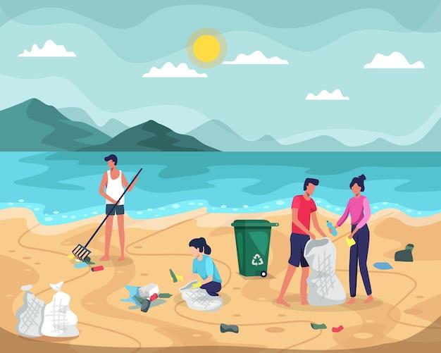 Strandreinigung. leute, die müll in taschen am strand sammeln. junge leute, die plastikmüll am wasser säubern. freiwillige räumen müll an der küste des ozeans auf. in einem flachen stil