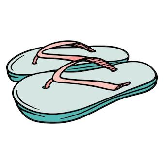 Strandschuhe. flip flops. flip-flops mit seilen. strandschuhe aus gummi. illustration für design und dekoration.