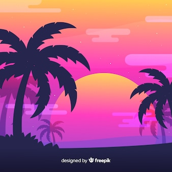 Strandsonnenuntergang-landschaftshintergrund