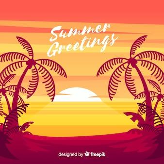 Strandsonnenuntergangsonnenaufgang mit palmenschattenbild
