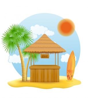 Strandstand bar für den sommerurlaub im resort in den tropen