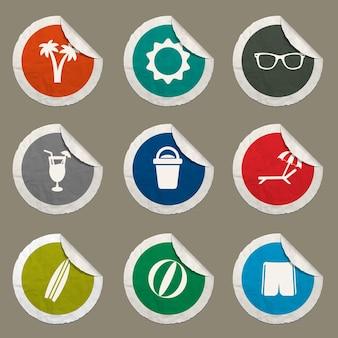 Strandsymbole für websites und benutzeroberfläche festgelegt