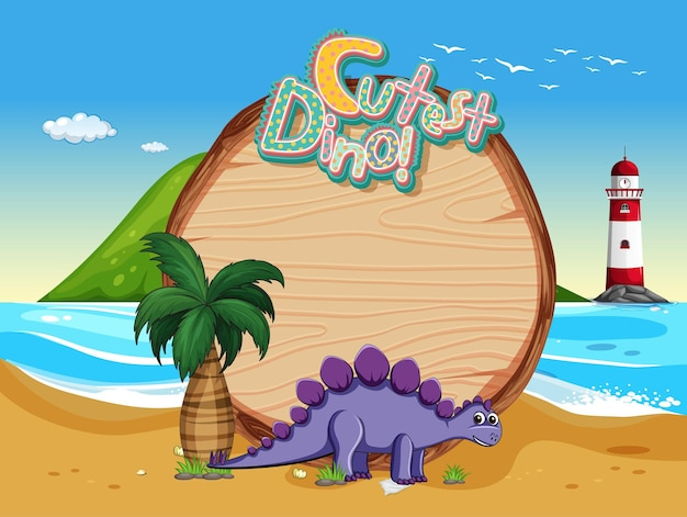 Strandszene mit leerer brettschablone und niedlicher dinosaurierzeichentrickfilm-figur
