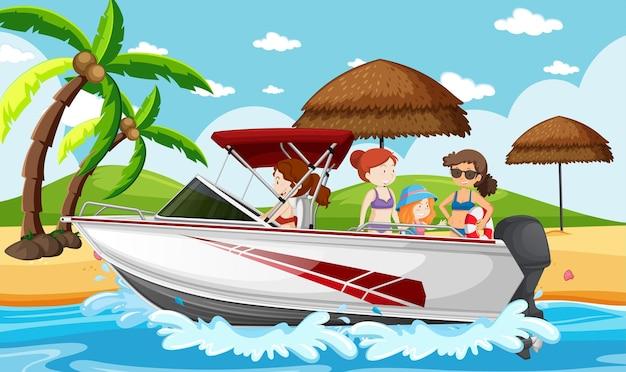 Strandszene mit menschen auf einem schnellboot